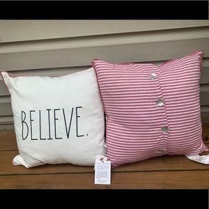 "NWT Rae Dunn ""Believe"" Throw Pillow"